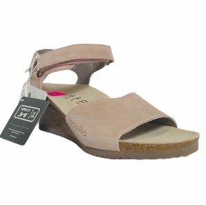 Papillio Leather Taupe Slingback Wedge Sandals 7